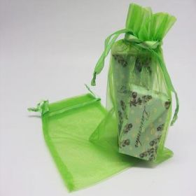 "Pack of 10 Apple green organza bags with satin drawstring cord (5"" x 7"")"