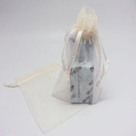 "Pack of 10 Ivory organza bags with satin drawstring cord (5"" x 7"")"