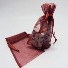 "Pack of 10 Chocolate organza bags with satin drawstring cord (5"" x 7"")"