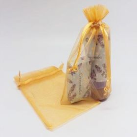 "Pack of 10 Gold organza bags with satin drawstring cord (5"" x 7"")"
