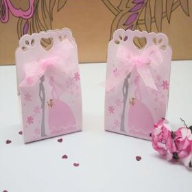 Pack of 10 Pastel pink bride & groom sacchetto favour box