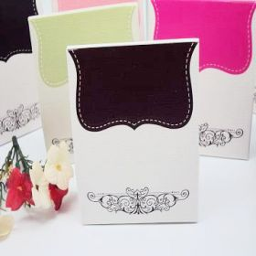 Pack of 10 Black tapestry favour box