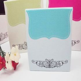 Pack of 10 Turquoise tapestry favour box