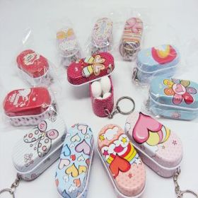 Set of 12 groovy love rectangular Gift tins with key ring