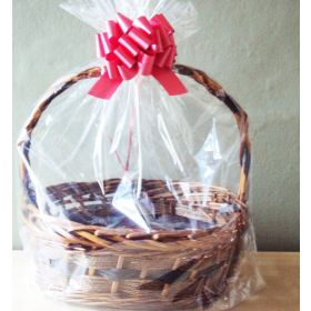 "23"" x 11"" x 24"" Bottom gusseted cellophane basket bags with RED pull bow for gift packaging & hamper making (Pack of 1)"