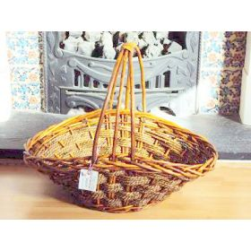 Large flat base, V-shaped willow wicker basket with handle