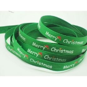 5M x 10mm grosgrain Merry Xmas ribbon  - Forest green