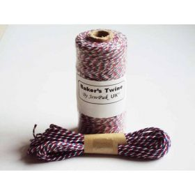 JEMPAK UK 10M x 2mm thick 100% cotton bakers twine  - Union flag colour