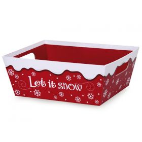 Set of 2 Let It Snow design Large market tray with wide base  (30cm long x 24cm width x 11cm deep)