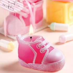 Pink baby sneakers candle in clear PVC box with ribbon (Pack of 10)