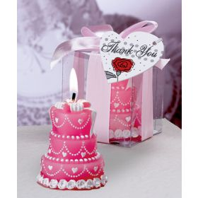 Pink cake candle in clear PVC box (Pack of 2)