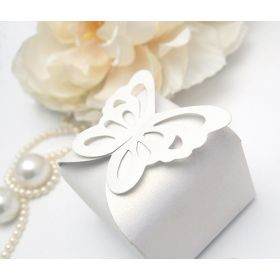 Pack of 10 White Butterfly top design  wedding favour gift boxes (60mm x 60mm x 45mm)