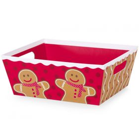 Set of 3 Gingerbread man basket boxes with wide base (23cm length x 18cm width x 9cm deep)