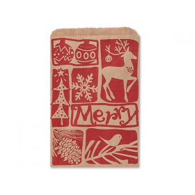 Pack of 10 Woodcut Christmas Paper Merchandise Bags 12cm x 17cm