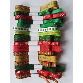 JEMPAK UK® Mixed Xmas ribbon offcut bundle - Contains 10 different 1 Metre cut assosrted designs and colours