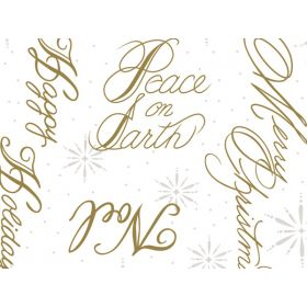 Xmas Script (Peace on earth) cellophane roll (80cm x 30M)