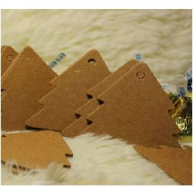 JEMPAK UK Pack of 25 blank brown Kraft Xmas tree shaped gift tags (6cm x 5.3cm) for Packaging/Gift Wrapping/Card-making/General Decoration